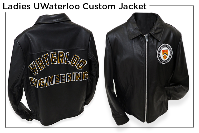Ladies UWaterloo Custom Jacket with University of Waterloo in felt letters on the back