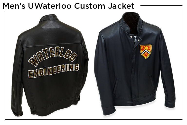 Men's UWaterloo Custom Jacket with University of Waterloo in felt letters on the back