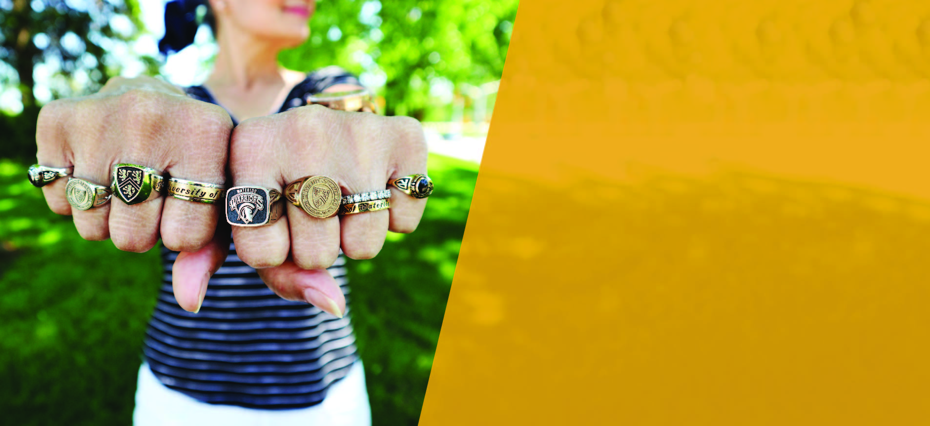 Grad rings on persons hands