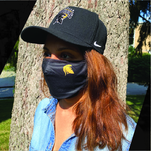 Person wearing UWaterloo Warriors branded mask