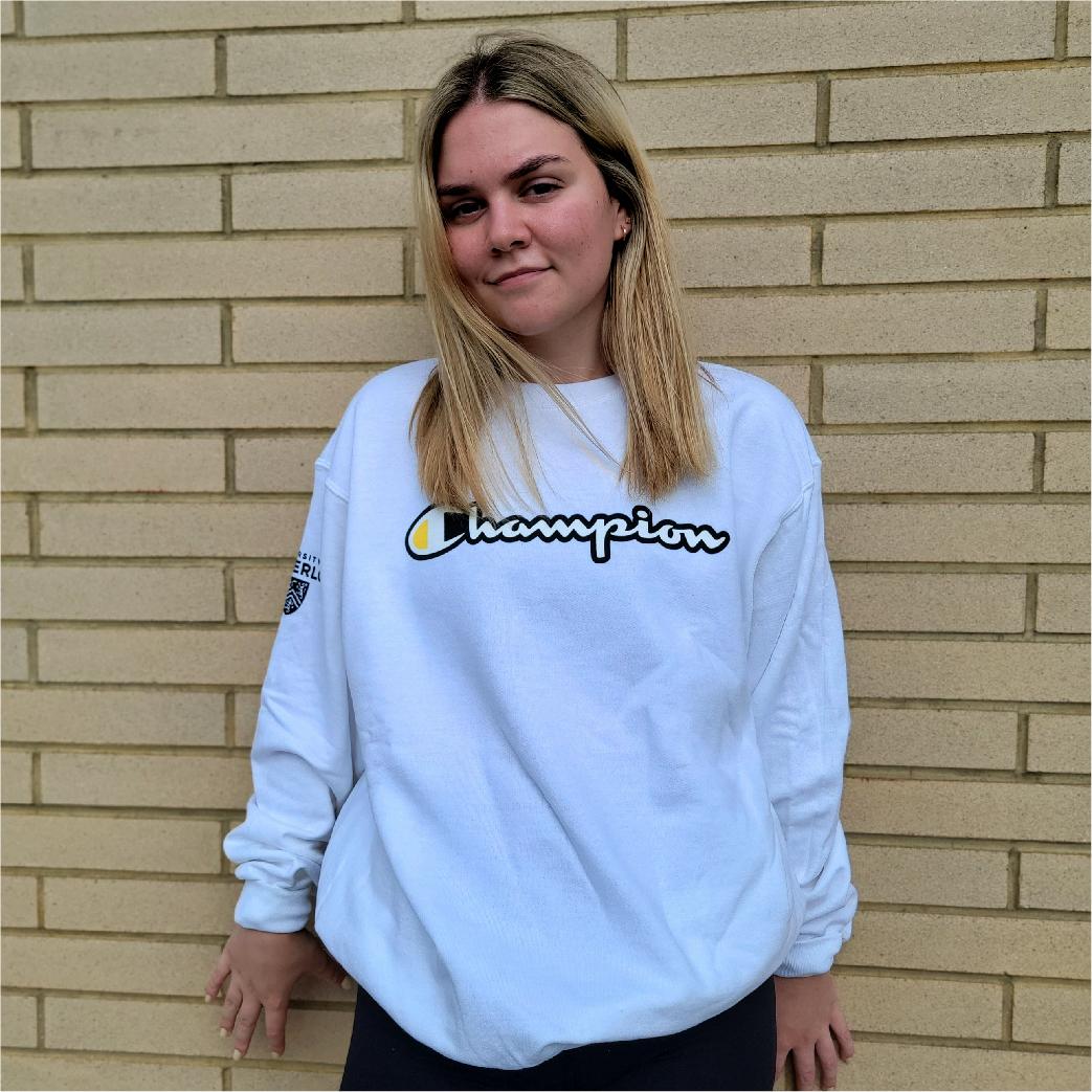 Student wearing champion hoodie