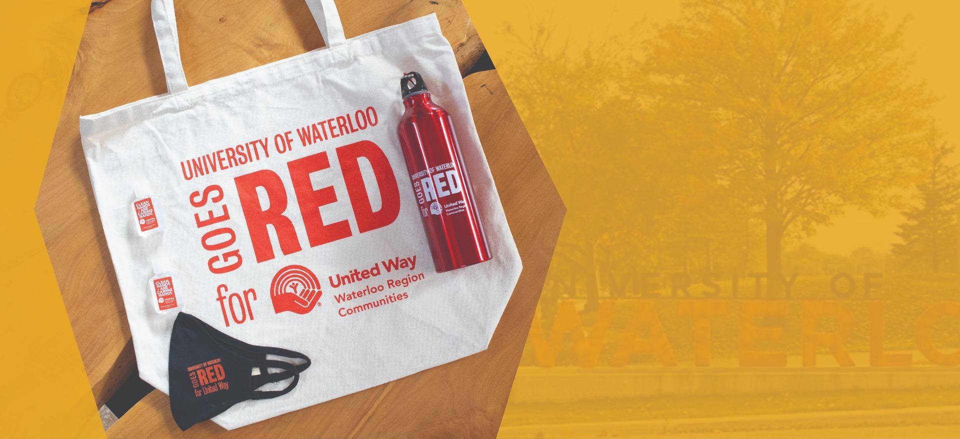 United Way bundle, including tote bag, water bottle, hand sanitizer and face mask