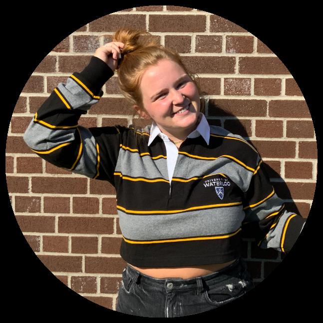 Student wearing UWaterloo rugby crop top