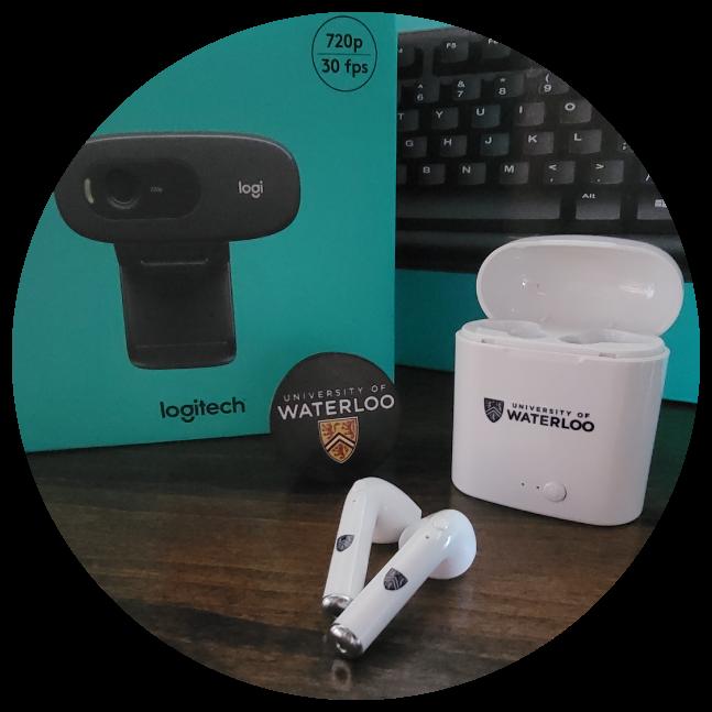 Webcam and UWaterloo headphones displayed on a desk