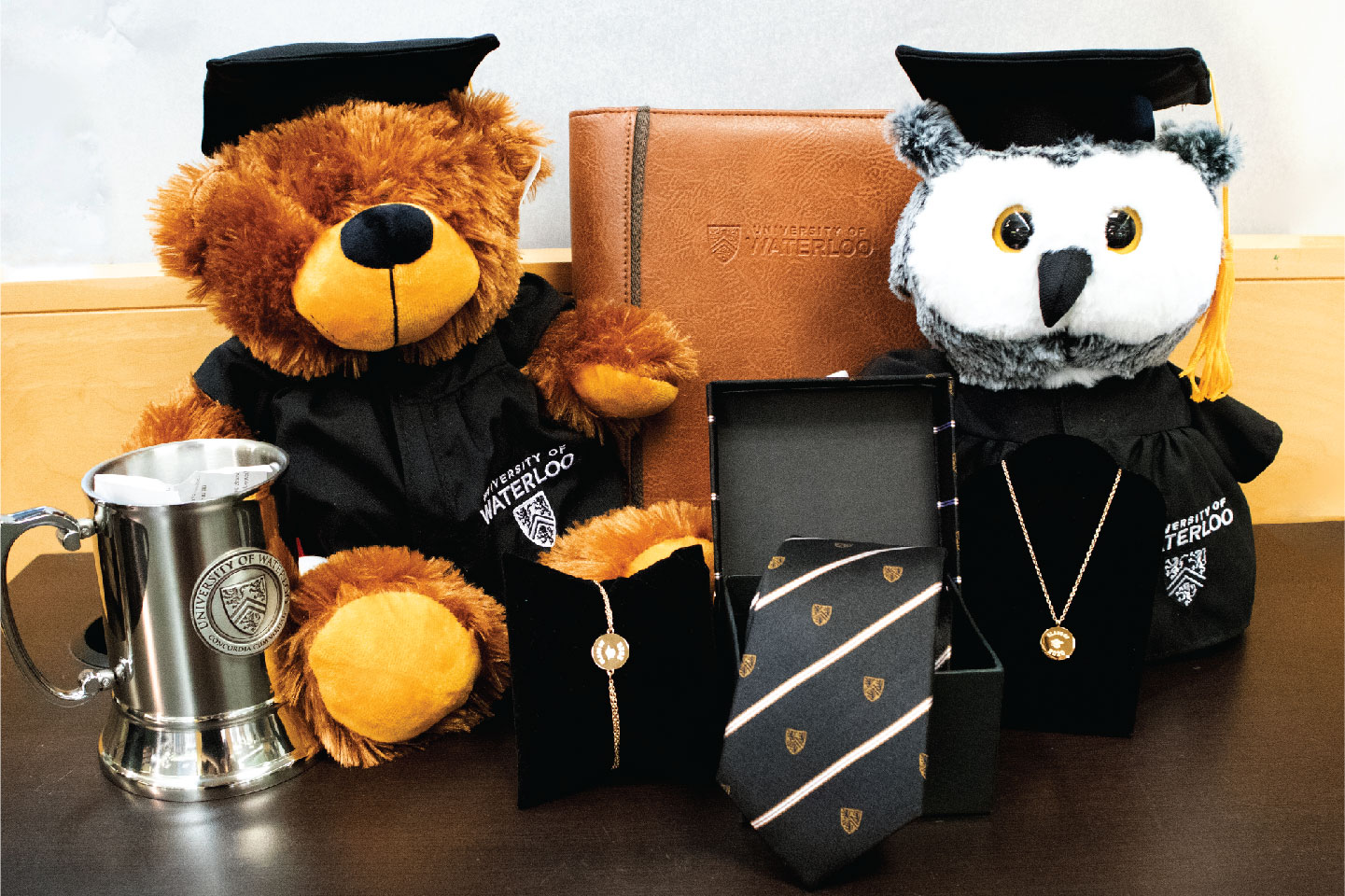 Convocation gifts on a shelf